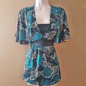 Teal, and White top, with back tie  Nice!